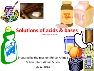 Solutions of acids & bases