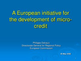 A European initiative for the development of micro-credit