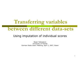 Transferring variables between different data-sets