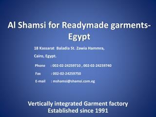 Al Shamsi for Readymade garments- Egypt