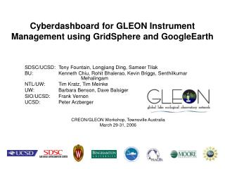 Cyberdashboard for GLEON Instrument Management using GridSphere and GoogleEarth