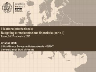 Il Mattone Internazionale Budgeting  e rendicontazione finanziaria (parte II)