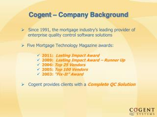 Cogent – Company Background