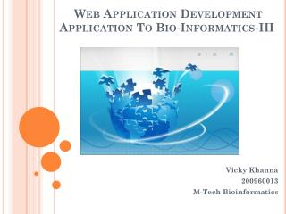 Web Application Development  Application To Bio-Informatics-III