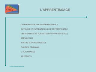 QU'ENTEND-ON PAR APPRENTISSAGE�?