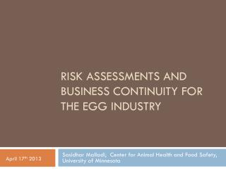 Risk  assessments and business continuity for the Egg Industry
