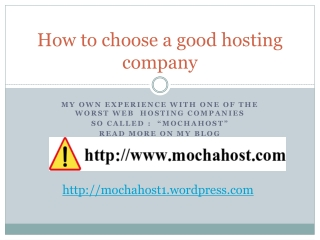 How to choose a good hosting company