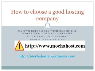 How to choose a good hosting company