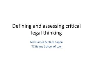 Defining and assessing critical legal thinking