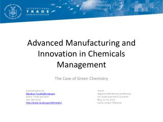 Advanced Manufacturing and Innovation in Chemicals Management
