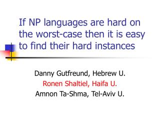 If NP languages are hard on the worst-case then it is easy to find their hard instances
