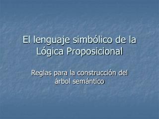 El lenguaje simbólico de la Lógica Proposicional