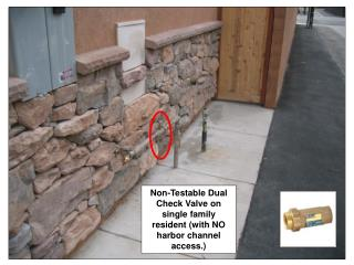 Non-Testable Dual Check Valve on single family resident (with NO harbor channel access.)