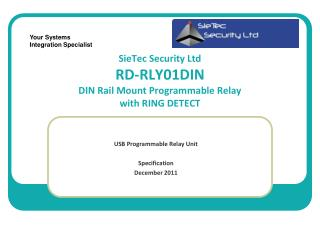 SieTec Security Ltd  RD-RLY01DIN DIN Rail Mount Programmable Relay with RING DETECT
