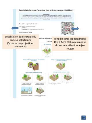 Localisation du  centroïde  du secteur sélectionné  (Système de projection : Lambert 93)