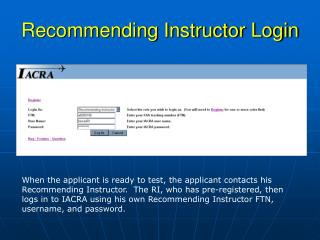 Recommending Instructor Login