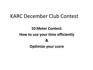 KARC December Club Contest