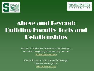 Michael T. Buchanon, Information Technologist, Academic Computing & Networking Services