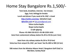Home Stay Bangalore Rs.1,500/-