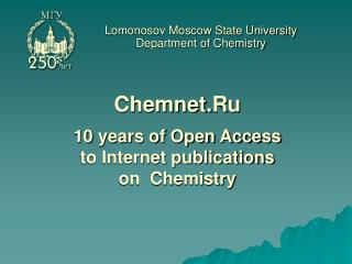 Lomonosov Moscow State University Department of Chemistry