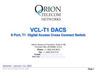 VCL-T1 DACS 8 Port, T1  Digital Access Cross Connect Switch