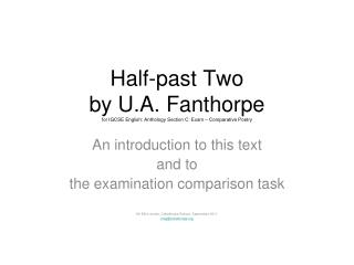 Half-past Two by U.A. Fanthorpe for IGCSE English: Anthology Section C: Exam   Comparative Poetry