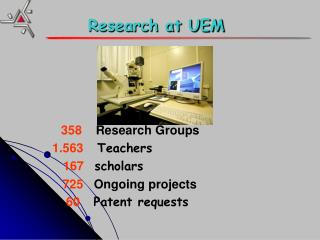 358     Research Groups 1.563     Teachers 167   scholars     725    Ongoing projects