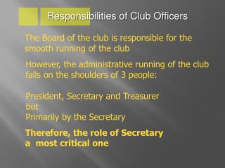 Responsibilities of Club Officers