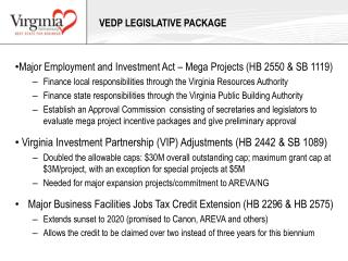 VEDP Legislative package