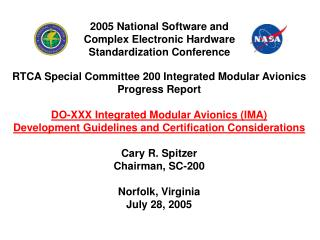 RTCA Special Committee 200 Integrated Modular Avionics Progress Report
