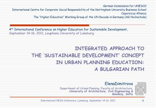 INTEGRATED APPROACH TO  THE 'SUSTAINABLE DEVELOPMENT' CONCEPT  IN URBAN PLANNING EDUCATION: