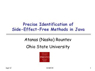 Precise Identification of           Side-Effect-Free Methods in Java