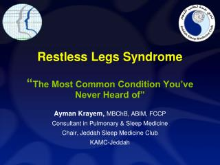 "Restless Legs Syndrome "" The Most Common Condition You've Never Heard of"""