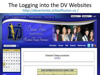 The Logging into the DV Websites