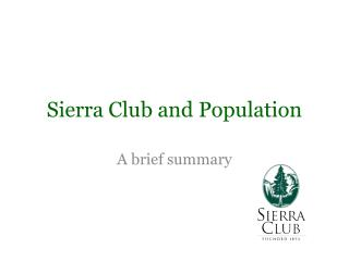 Sierra Club and Population