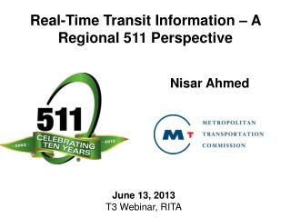Real-Time Transit Information – A Regional 511 Perspective