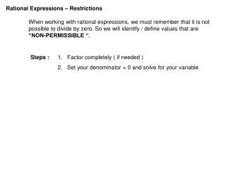 Rational Expressions � Restrictions