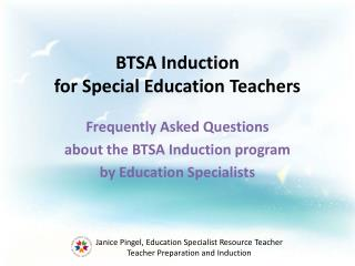 BTSA Induction  for Special Education Teachers
