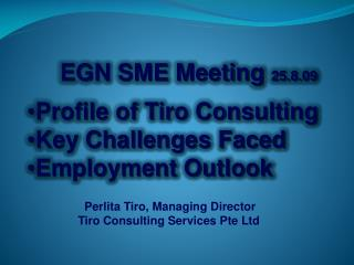 EGN SME Meeting  25.8.09 Profile of Tiro Consulting Key Challenges Faced Employment Outlook