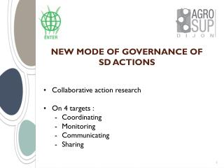 NEW MODE OF GOVERNANCE OF SD ACTIONS