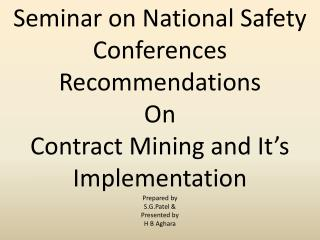 Seminar on National Safety Conferences  Recommendations  On