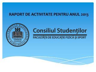 RAPORT DE ACTIVITATE PENTRU ANUL 2013