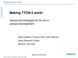 Making TTCN-3 work!