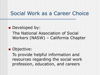 Social Work as a Career Choice