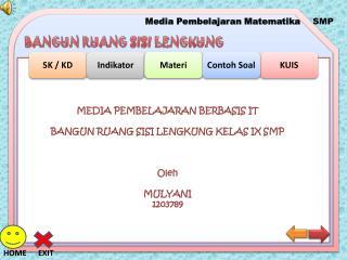MEDIA PEMBELAJARAN BERBASIS IT BANGUN RUANG SISI LENGKUNG KELAS IX SMP Oleh MULYANI 1203789