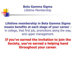 Beta Gamma Sigma Lifetime Membership