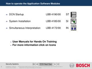 How to operate the Application Software Modules