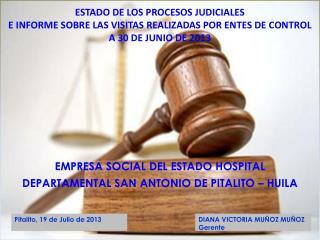 EMPRESA SOCIAL DEL ESTADO HOSPITAL  DEPARTAMENTAL SAN ANTONIO DE PITALITO – HUILA