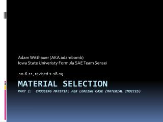 Material  Selection Part 1:  Choosing material per loading case (Material Indices)
