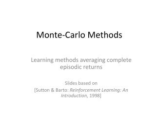 Monte-Carlo Methods